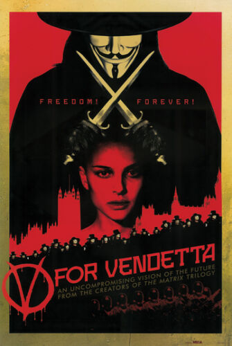 V For Vendetta Freedom Forever 24x36 Movie Poster Guy Fawkes Natalie Portman