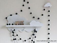 Black Felt Ball Garland,Monochrome Nursery,Boys Bedroom,Black and White Nursery