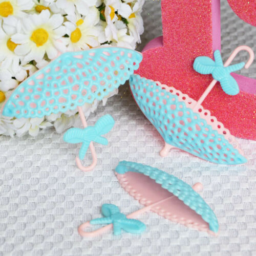 12 Light Blue /& Pink Parasol Umbrella Lace Parasol Cupcake Birthday Cake Topper