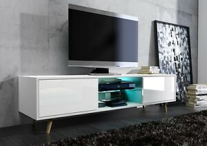 Beau Image Is Loading TV Stand Table Retro WHITE GLOSS Doors Cabinet