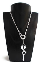 "925 Silver Locket, Heart & Key 20"" Snake Chain & Free Jewellery Box"