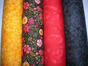 RéAliste Rouge & Noir X 4 Fat Quarter Tissu Bundle 100% Coton Tissu Craft/quilt Rbk-afficher Le Titre D'origine Fabrication Habile