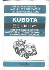 KUBOTA RIDE ON MOWER - MODELS G18 & G21 OPERATORS MANUAL