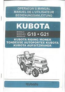 kubota ride on mower models g18 g21 operators manual ebay rh ebay co uk Kubota Wiring Diagram Online kubota g18 workshop manual