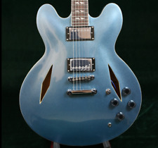 2018 Top Quality Dave Groh Semi Hollow Body Electric Guitar Metal Blue Finished
