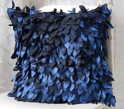 Decoration Square Pillow cover cases cushion leaves feather white gary blue 43cm