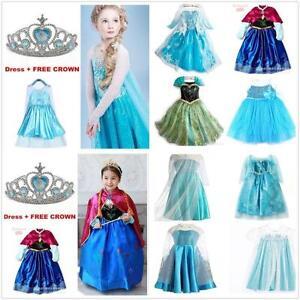 NWT-FROZEN-Princess-Anna-Elsa-Cosplay-disfraz-vestido-fiesta-2-10-anos-corona