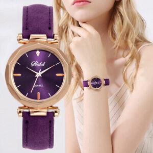 Montre-Quartz-Bracelet-Cuir-Cadran-Femme-Fantaisie-Cadeau-Couleur-Au-Choix-FP