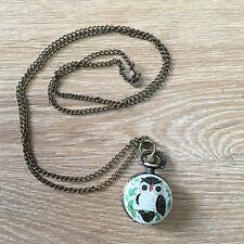White Owl Clock Necklace Pocket Watch Antique Style Bronze Pendant Vintage Retro