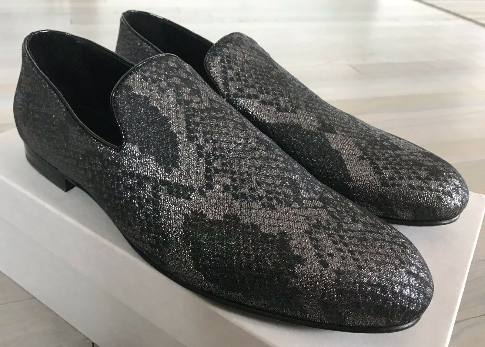 5e27ca7ea1f6 800  Jimmy Choo Snake Print Steel Steel Steel Sloane Slip On Shoes size US  9