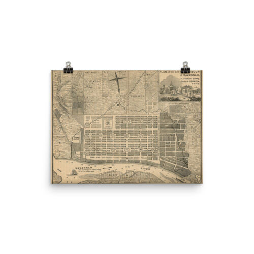 City Print and Street Atlas Poster Vintage Savannah GA Map 1818