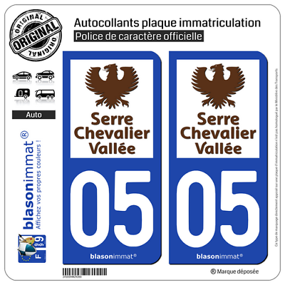2 Stickers Plaque Immatriculation Auto | 05 Serre Chevalier - Vallée | 05240