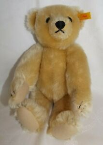 Steiff-1909-Classic-Teddy-Bear-Gold-Blonde-Mohair-Jointed-Growler-000379-Perfect