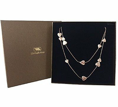 BellaMira Hammered Heart Rose Gold Silver Plated Long Sweater Necklace Gift Box