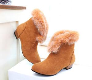 Damen-Schuhe-Winter-Schneestiefel-Ankle-Boots-Warm-Winter-Stiefeletten-Gr-32-43
