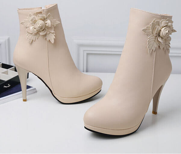 Botines 9.5 botas zapatos elegantes mujer talón 9.5 Botines como piel beige 9120 a1eaa0