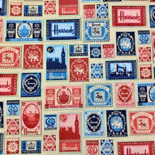 Half Metre Half Yard Harrods London Stamp Sewing Quilting Fabric Allover  FQ