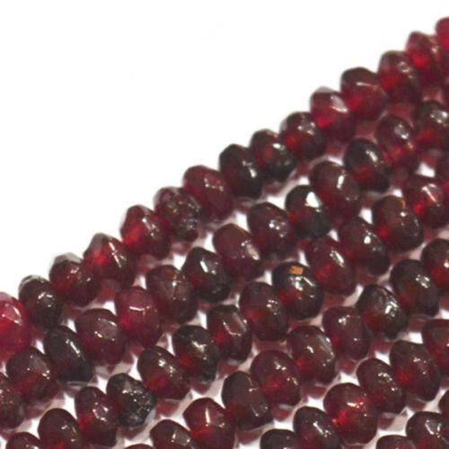 Natural 2x4mm Dark Red Garnet Faceted Gems Rondelle Loose Beads Strand JL0849