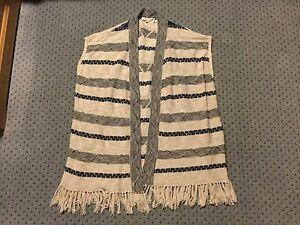 Brand New Women's Fat Face Ivory And Blue Patterned Cardigan Size Medium