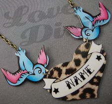 Customised Leopard Heart Tattoo With Swallows Kitsch Necklace Rockabilly