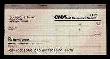 Original CLARENCE HANK SNOW Merrill Lynch BANK CHECK CHECKBOOK Grand Ole Opry