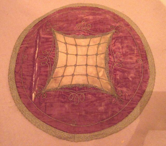 antique hand embroidered Turkish Ottoman roundel 14inch centerpiece needlepoint