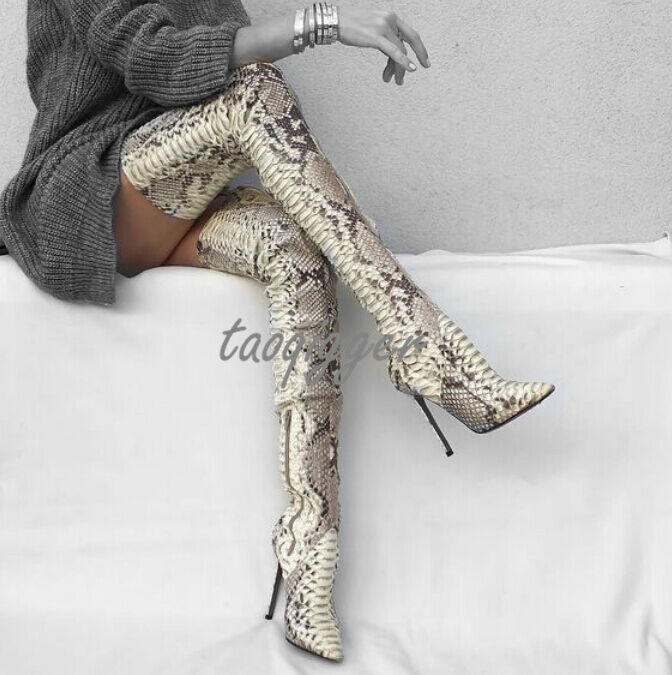 Hot Sexy Women snake skin over knee high boots Stiletto Leather Thigh High Boots