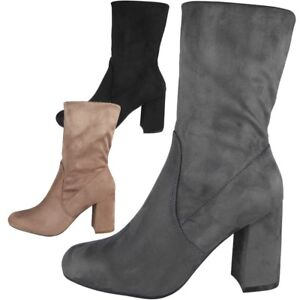 8f174f1f50d Details about New Ladies Womens Faux Suede Chunky High Block Heel Plain  Ankle Boots Shoes Size