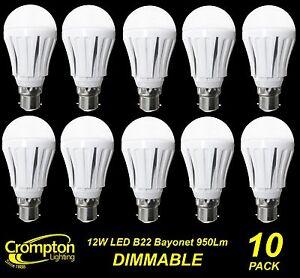 10-x-DIMMABLE-LED-12W-Pearl-Light-Globes-Bulbs-A60-GLS-Bayonet-B22-Warm-White