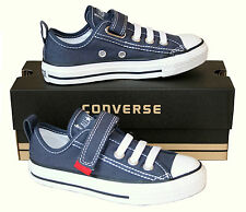 KIDS Boy Girl CONVERSE All Star Ox BLUE STRETCH LACES SLIP ON Trainers SIZE UK 1