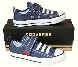 KIDS-Boy-Girl-CONVERSE-All-Star-BLUE-VELCRO-LACELESS-SLIP-ON-Trainers-SIZE-UK-11