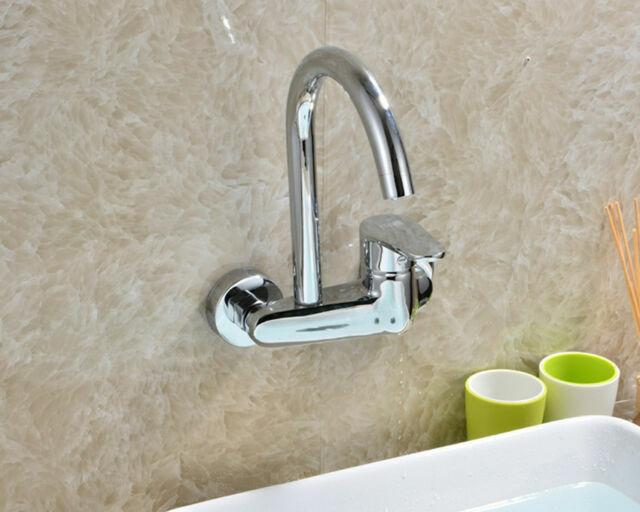 Wall Mount Kitchen Faucet Brass Basin Sink Mixer Tap Chrome Single Handle 2 Hole