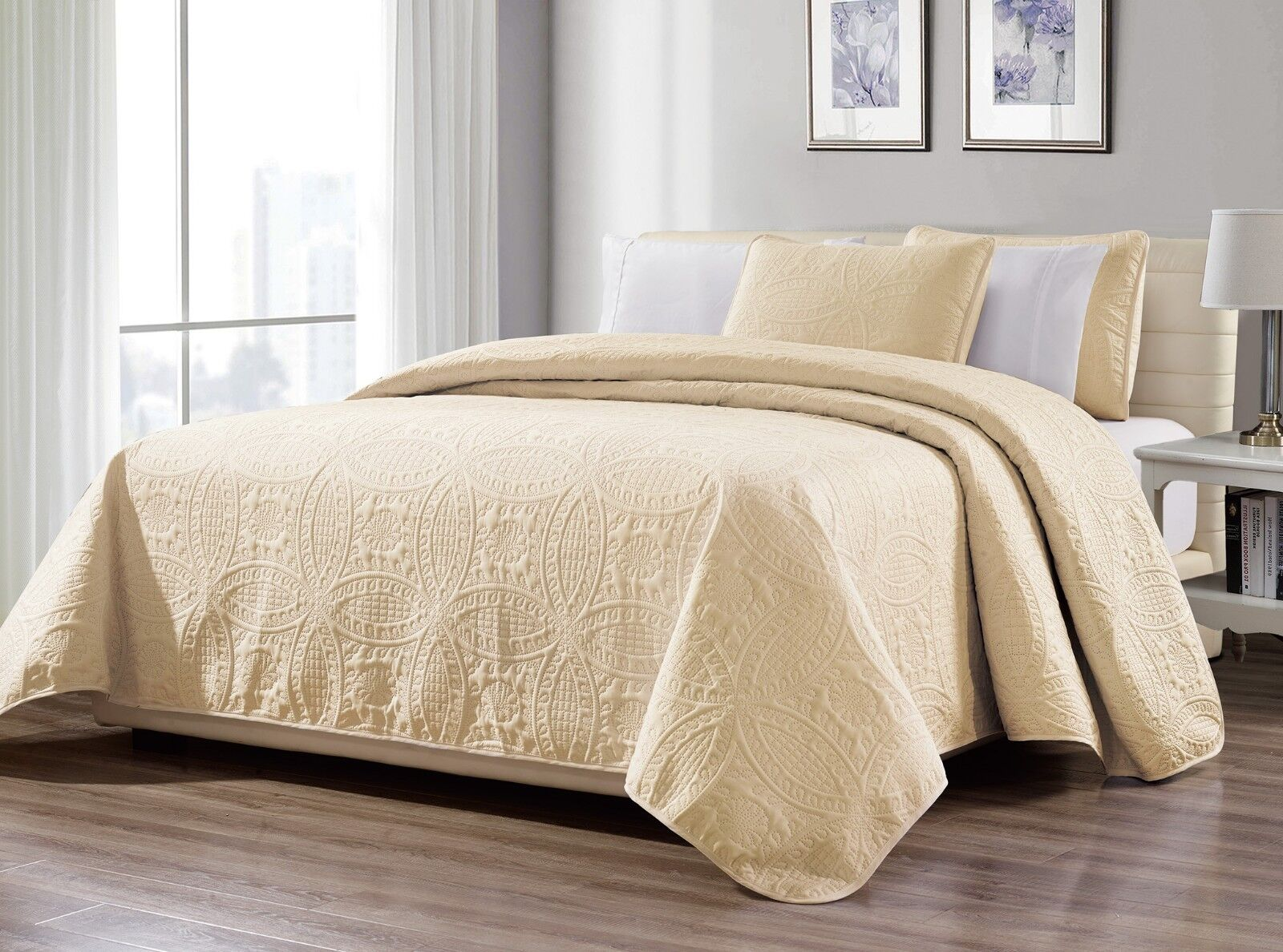 Fancy Linen Embossed OverGrößed Coverlet Bedspread Set Ivory All Größes New
