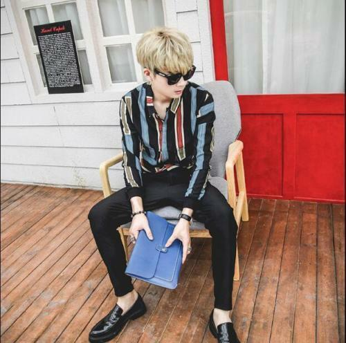 New Color Stitching Men/'s Thin Jacket Korean Chic Personality Striped Shirts