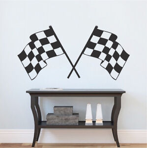 racing flag decal finish line flags wallpaper race car removable