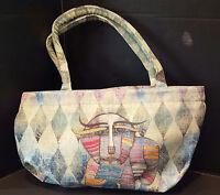 Albena Canvas Tote Handbag Whimsical Cat Zipper 19 X 11.5 Made Usa
