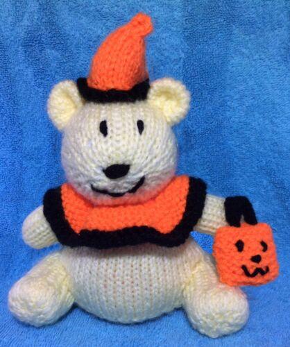 KNITTING PATTERN 17 cms toy Trick or Treat Halloween Bear choc orange cover