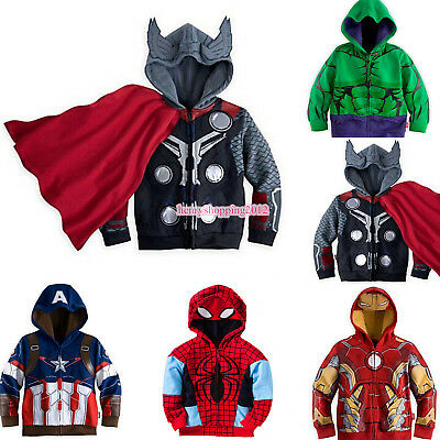 US Kids Toddler Boys Superhero Hoodie Hooded Jacket Coat Sweatshirt Outwear 2-8T