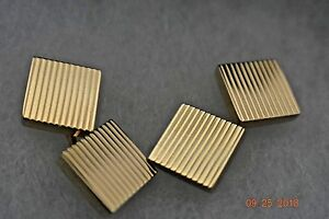 Tiffany-amp-Co-Cufflinks-Rare-14K-Gold-Square-Ribbed-Box-amp-Pouch