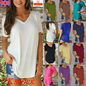 UK-Womens-Cotton-V-Neck-Basic-T-Shirt-Ladies-Short-Sleeve-Blouse-Tops-Casual-Tee