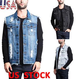 Mens-Ripped-Hole-Denim-Vest-Sleeveless-Jeans-Jacket-Casual-Vintage-Retro-Fashion