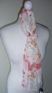 Ivory-Orange-Floral-Leaf-Scarf-Silky-Feel-Skinny-Long-Lightweight-BHS-Gift-New