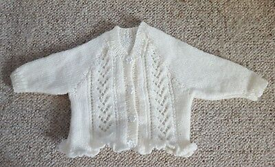 """20""""/51 Cm Chest Hand Knitted Girl Jacket/cardigan Cream Last Style"""