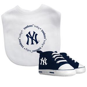 New-York-Yankees-Bebe-Set-Babero-amp-Zapatos-Oficial-MLB-Bpa-Libre