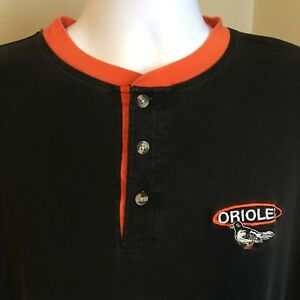 Pro-Edge-Henley-Mens-Shirt-Baltimore-Orioles-Black-w-Orange-Logo-Trim-MLB-Medium