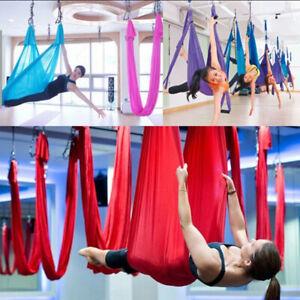 Yoga Swing Hammock Trapeze Sling Aerial Silk Set Anti-gravity Inversion FitnHFUK