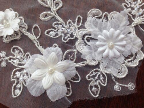 Pares motivo floral blanco apagado con Flores Perlas 3D//Piedra Vestido Decoración 32cm*16cm