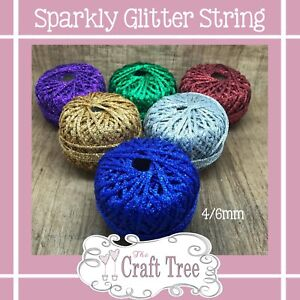 Sparkly Glitter Soft String Cord Twine 1mm/2mm -5, 10, 20 30 50 Metres Available