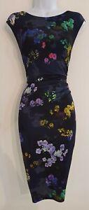 Para-Mujer-Fase-Ocho-Azul-Floral-Vestido-Cenido-Al-cuerpo-Sin-mangas-Drapeado-Acanalada-18-en-muy