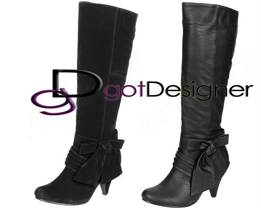 NEW Womens Fashion Sexy Mid Calf Knee High Boots Shoes Heels Pumps Bow Comfort